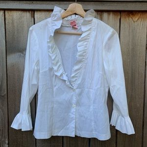 Trina Turk | Ruffle Sleeve Long Sleeve Blouse